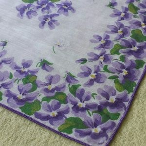 Beautiful Purple Pansy Vintage Linen Kerchief
